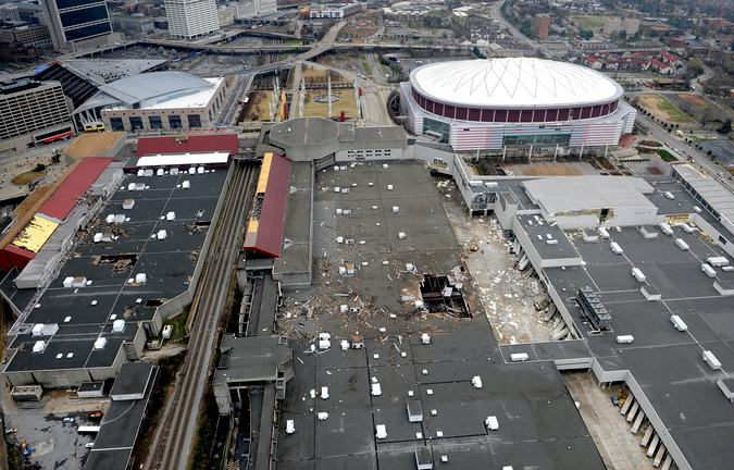 Roof damage at the World Congress Center