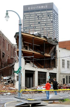 Damaged building just east of CNN Center.